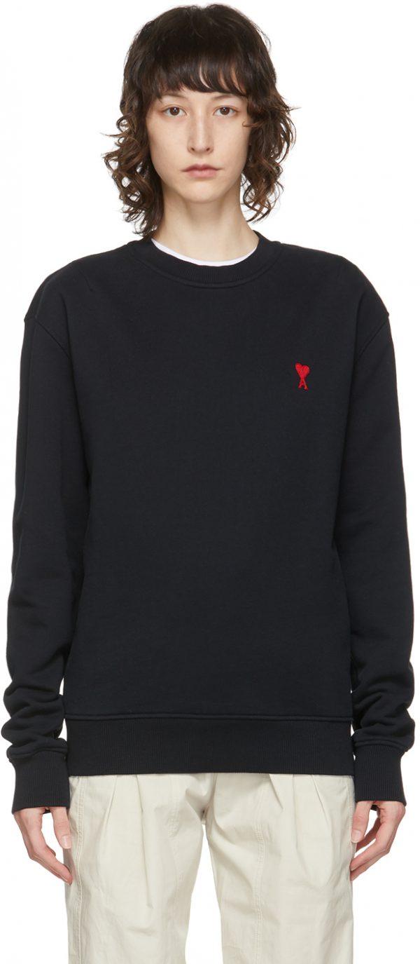 AMI Alexandre Mattiussi Black Ami De Coeur Sweatshirt