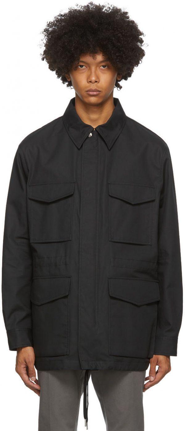 AMI Alexandre Mattiussi Black Bonded Patch Pockets Coat