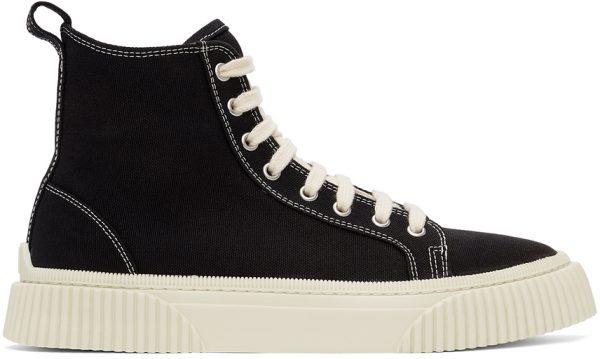AMI Alexandre Mattiussi Black Canvas High Sneakers