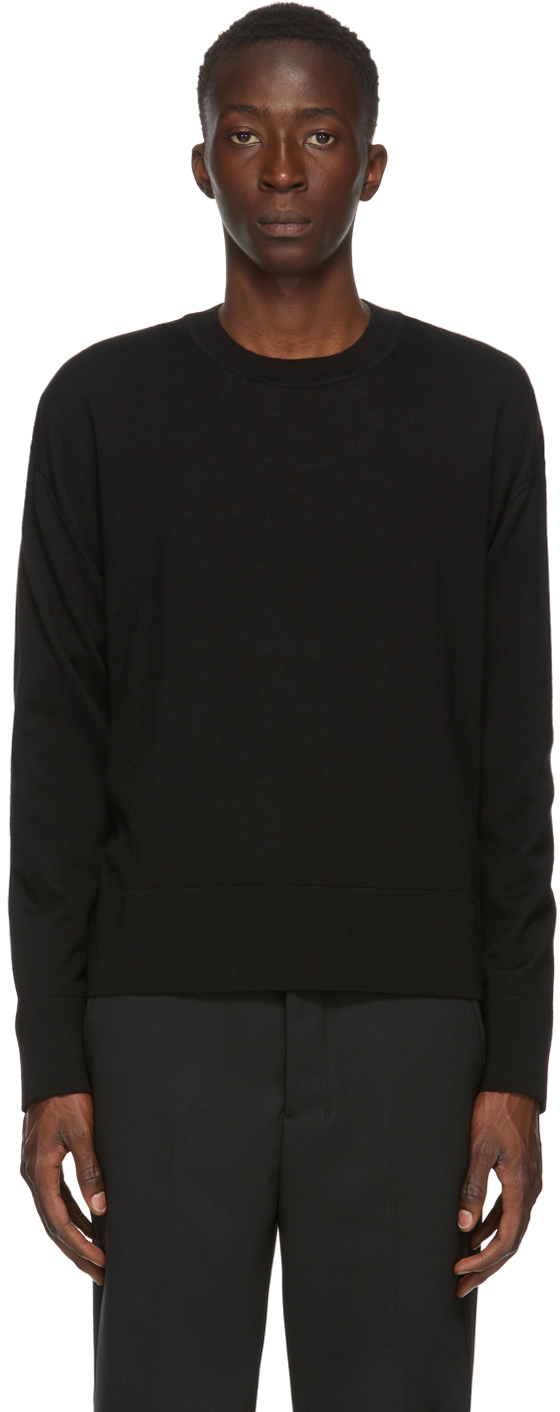 AMI Alexandre Mattiussi Black Merino Oversize Crewneck Sweater