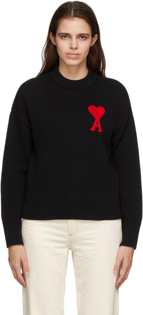 AMI Alexandre Mattiussi Black Oversize Ami De Coeur Sweater