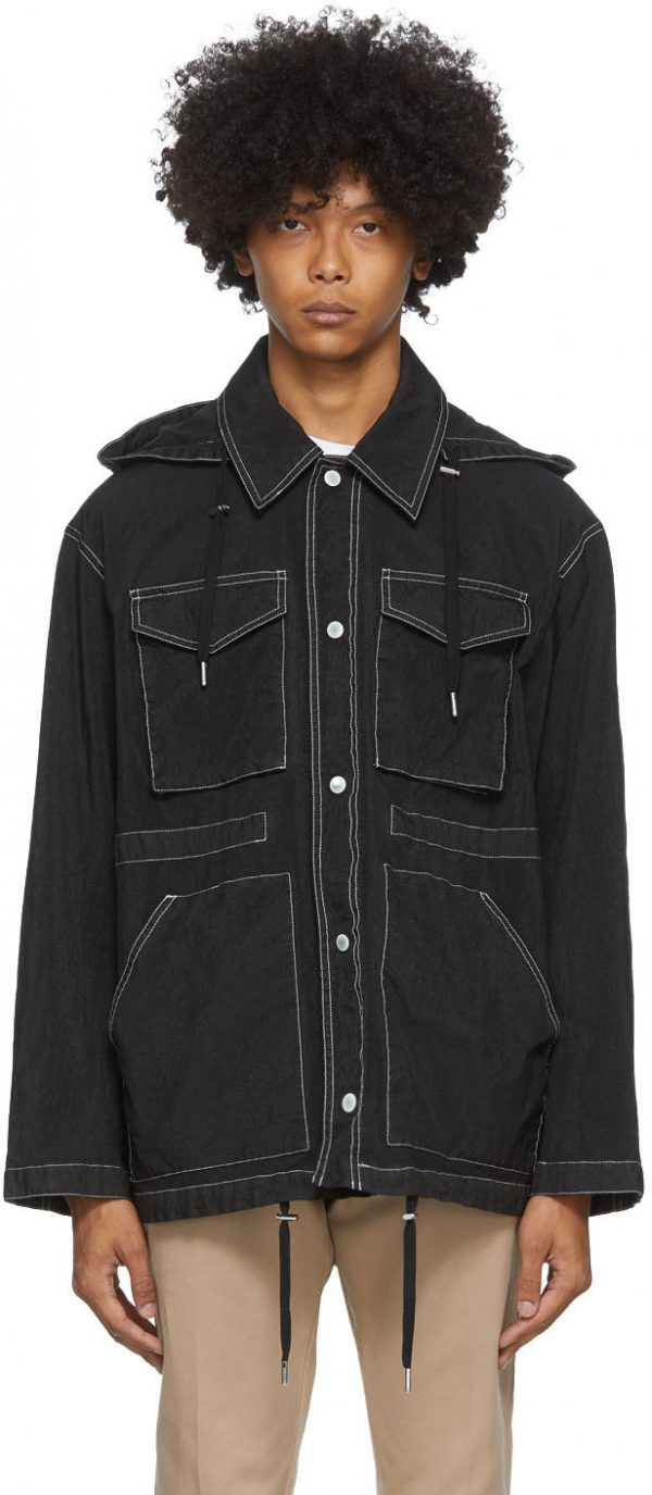 AMI Alexandre Mattiussi Black Patch Pockets Jacket