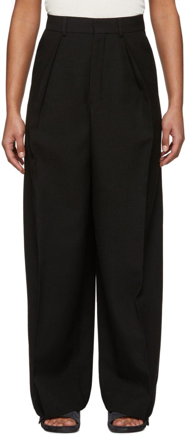 AMI Alexandre Mattiussi Black Wide Pleated Trousers