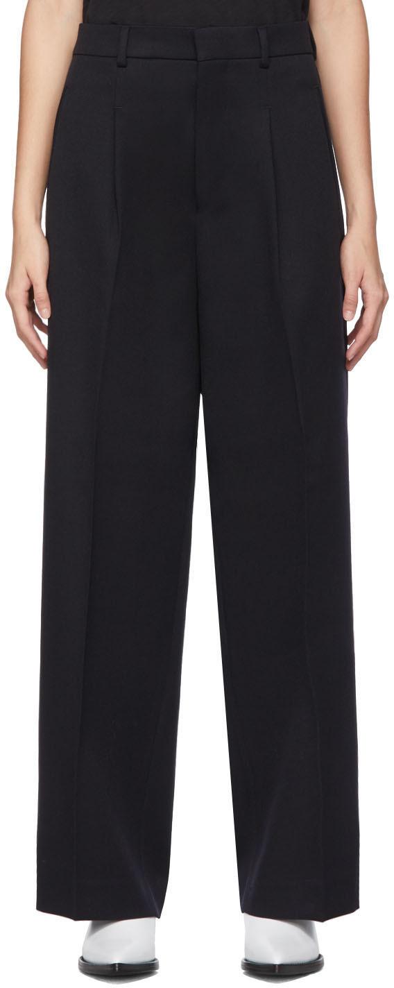 AMI Alexandre Mattiussi Black Wool Oversized Trousers
