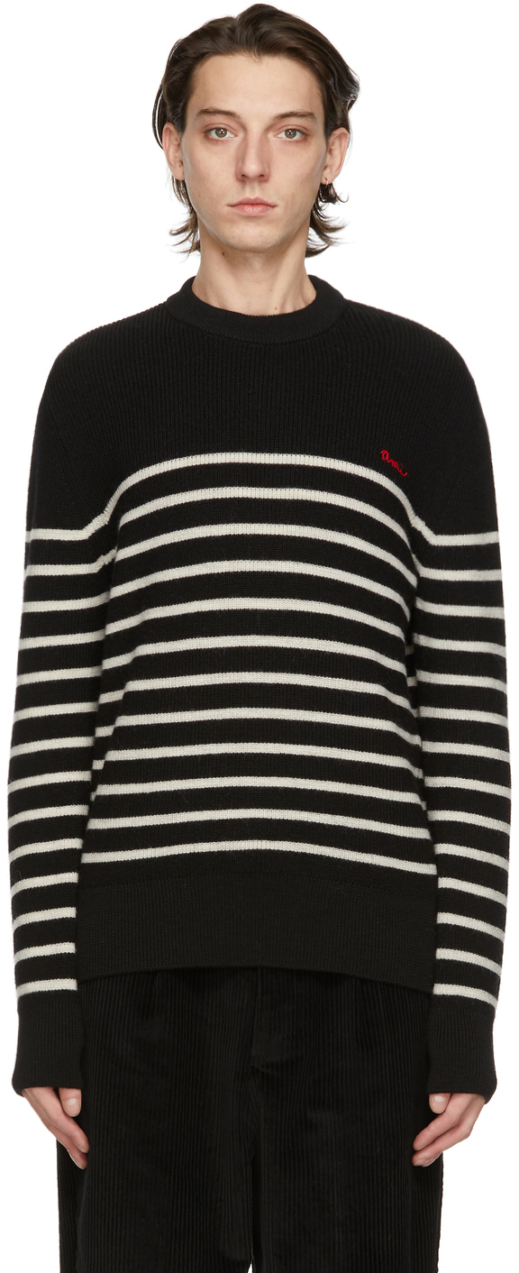 AMI Alexandre Mattiussi Black & White Breton Stripe Sweater
