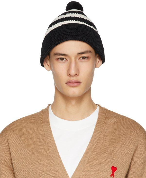 AMI Alexandre Mattiussi Black & White Cotton Crochet Beanie