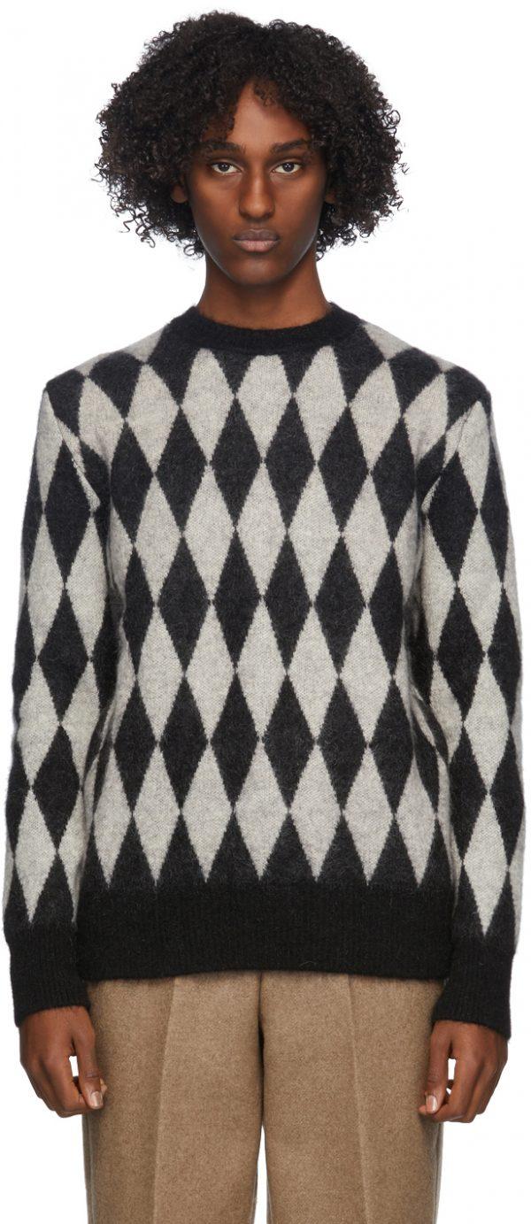 AMI Alexandre Mattiussi Black & White Diamond Sweater