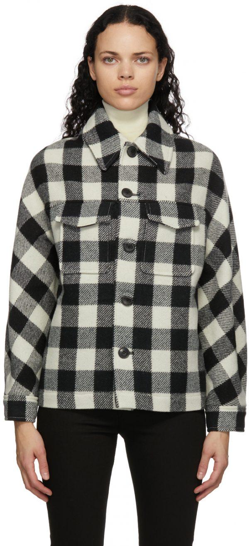 AMI Alexandre Mattiussi Black & White Wool Check Lumberjack Jacket