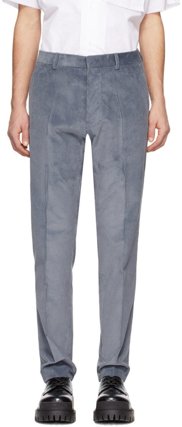 AMI Alexandre Mattiussi Blue Corduroy Cigarette Trousers