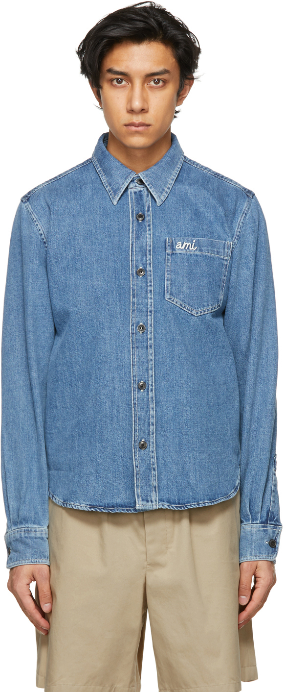 AMI Alexandre Mattiussi Blue Denim Overshirt