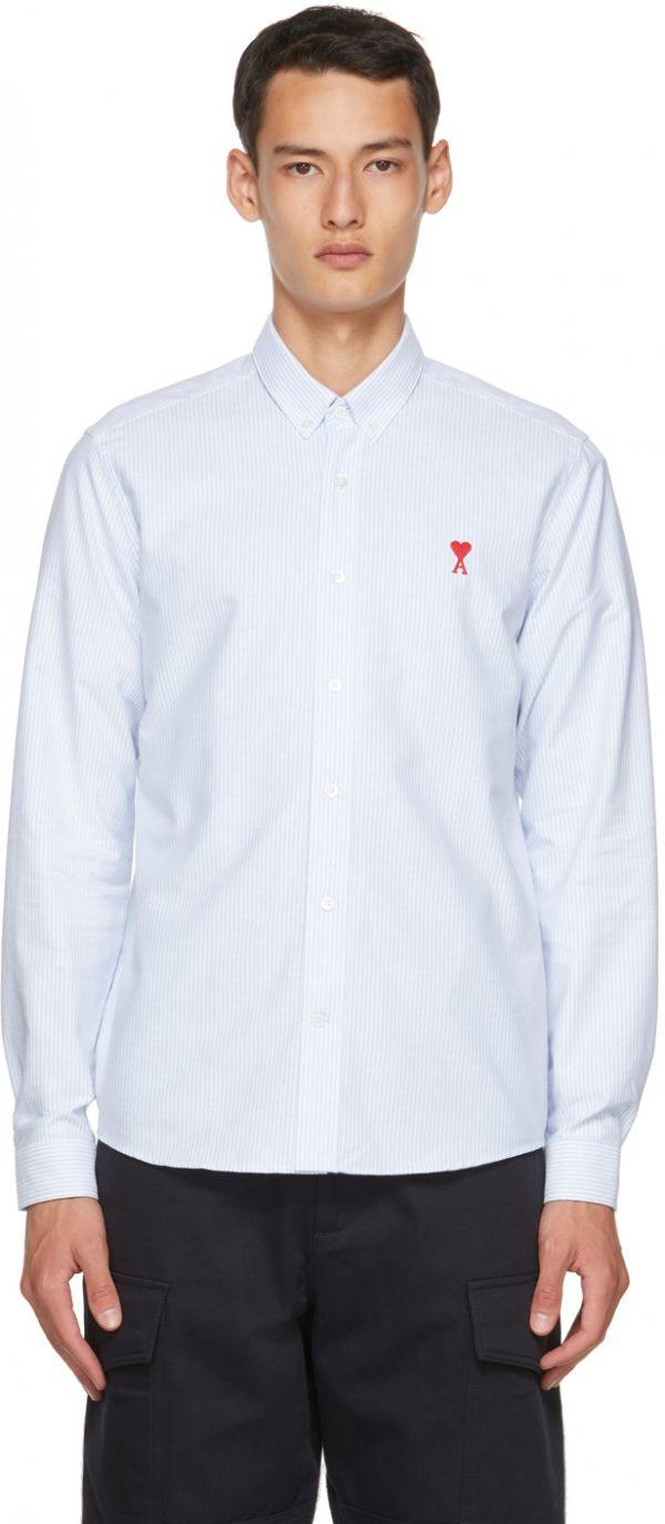 AMI Alexandre Mattiussi Blue & White Striped Ami De Coeur Shirt