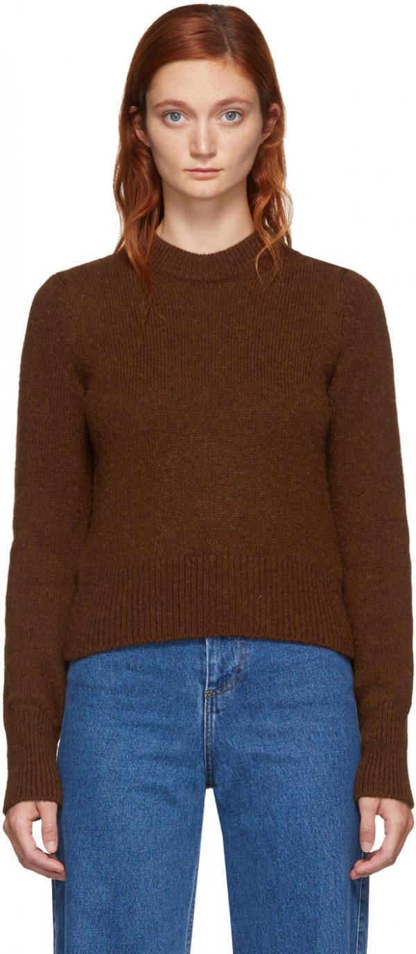 AMI Alexandre Mattiussi Brown Alpaca Pullover Sweater