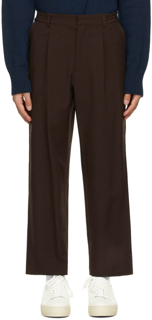 AMI Alexandre Mattiussi Brown Elasticized Waist Trousers