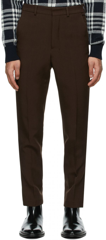 AMI Alexandre Mattiussi Brown Wool Carrot Fit Trousers