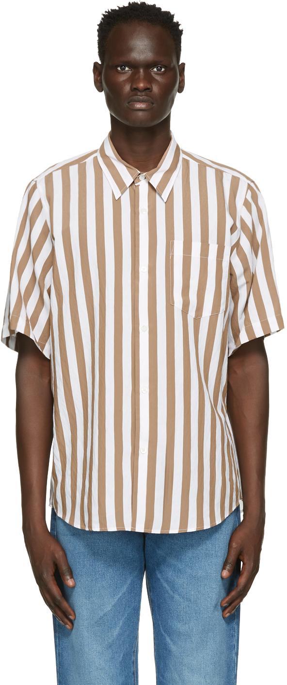 AMI Alexandre Mattiussi Brown & White Striped Short Sleeve Shirt
