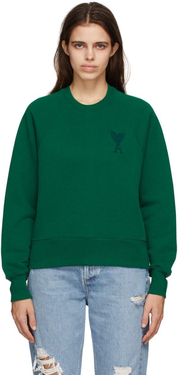 AMI Alexandre Mattiussi Green Ami De Coeur Sweatshirt