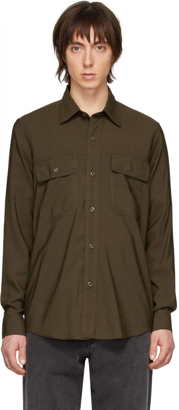 AMI Alexandre Mattiussi Green Double Pocket Shirt