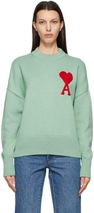 AMI Alexandre Mattiussi Green Oversize Ami De Coeur Sweater