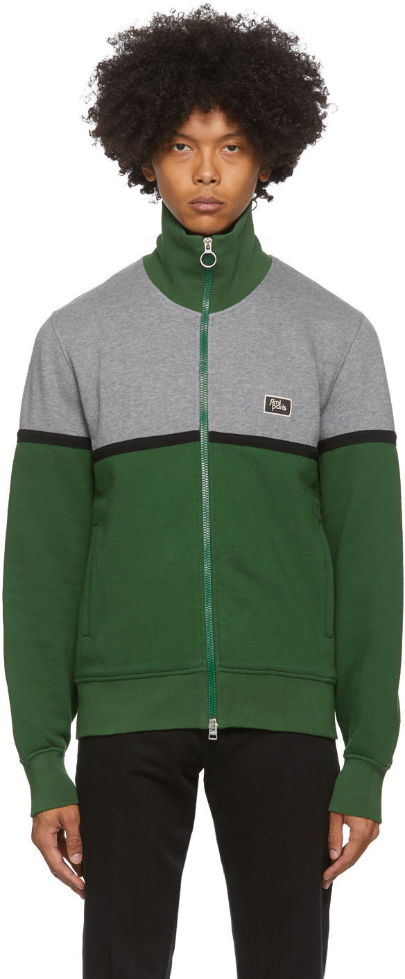 AMI Alexandre Mattiussi Green & Grey Zippered Sweater