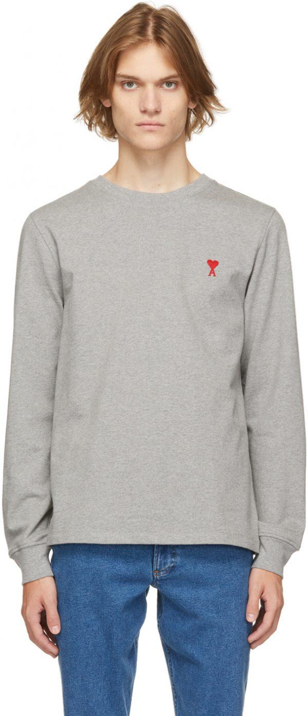 AMI Alexandre Mattiussi Grey Ami De Coeur Long Sleeve T-Shirt