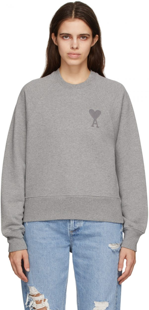 AMI Alexandre Mattiussi Grey Ami De Coeur Sweatshirt