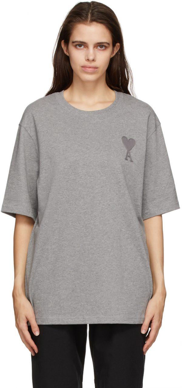 AMI Alexandre Mattiussi Grey Ami De Coeur T-Shirt