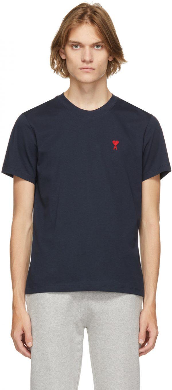 AMI Alexandre Mattiussi Navy Ami De Coeur T-Shirt
