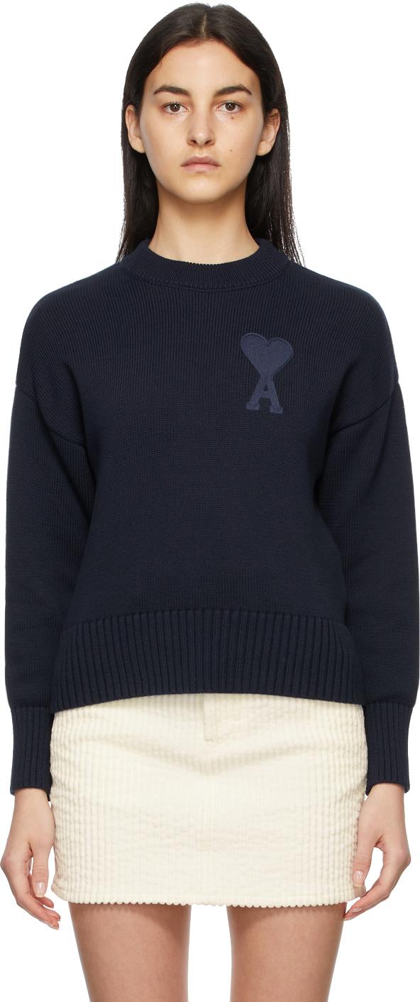 AMI Alexandre Mattiussi Navy Crewneck Ami De Coeur Sweater