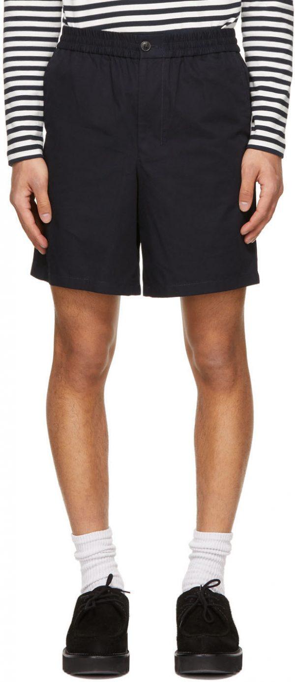 AMI Alexandre Mattiussi Navy Elasticized Waist Bermuda Shorts