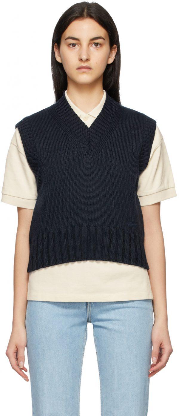 AMI Alexandre Mattiussi Navy Sleeveless V-Neck Sweater