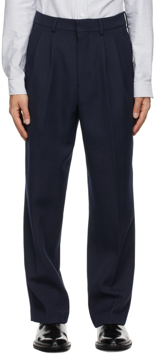 AMI Alexandre Mattiussi Navy Wide Fit Pleated Trousers
