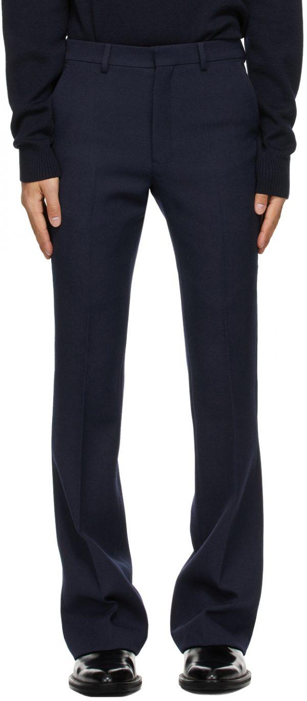 AMI Alexandre Mattiussi Navy Wool Flared Trousers