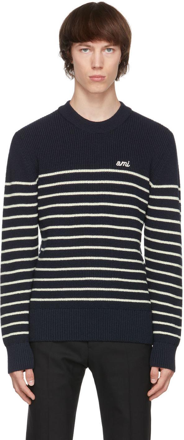 AMI Alexandre Mattiussi Navy & White Merino Breton Stripe Sweater