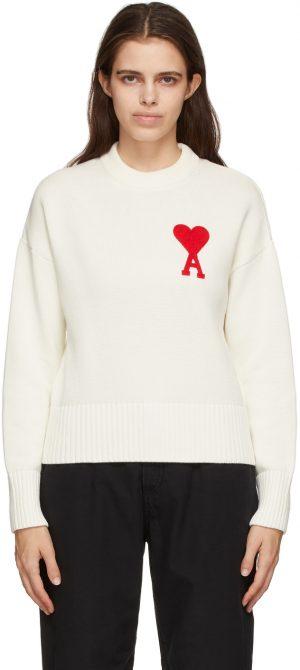 AMI Alexandre Mattiussi Off-White Oversize Ami De Coeur Sweater
