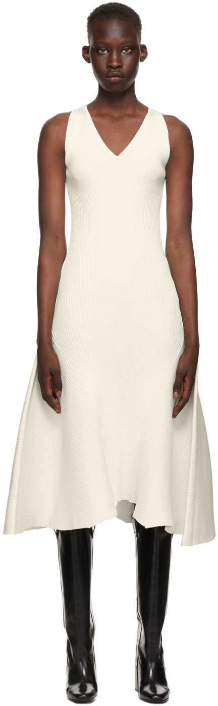 AMI Alexandre Mattiussi Off-White Ribbed Tank Dress