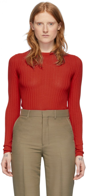 AMI Alexandre Mattiussi Red Fitted Crewneck Sweater