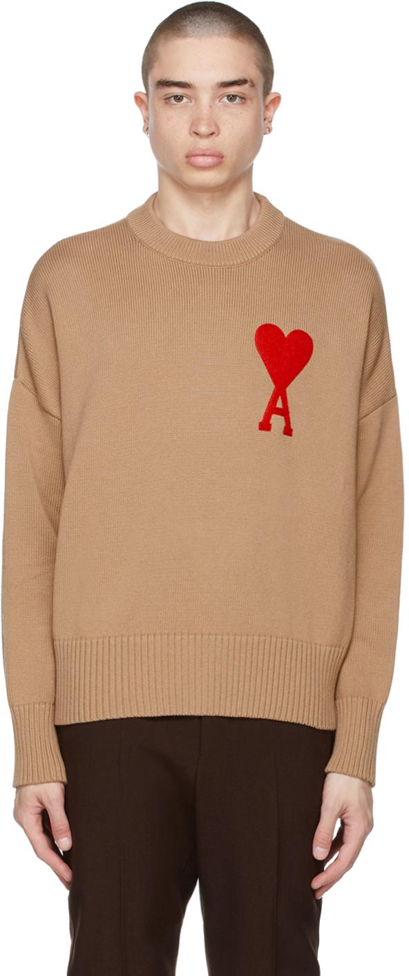 AMI Alexandre Mattiussi SSENSE Exclusive Beige Oversize Ami De Coeur Sweater