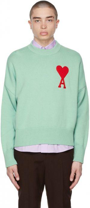 AMI Alexandre Mattiussi SSENSE Exclusive Green Oversize Ami De Coeur Sweater
