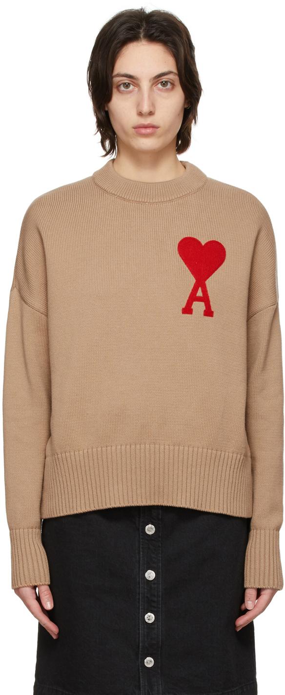 AMI Alexandre Mattiussi Tan Oversize Ami De Coeur Sweater