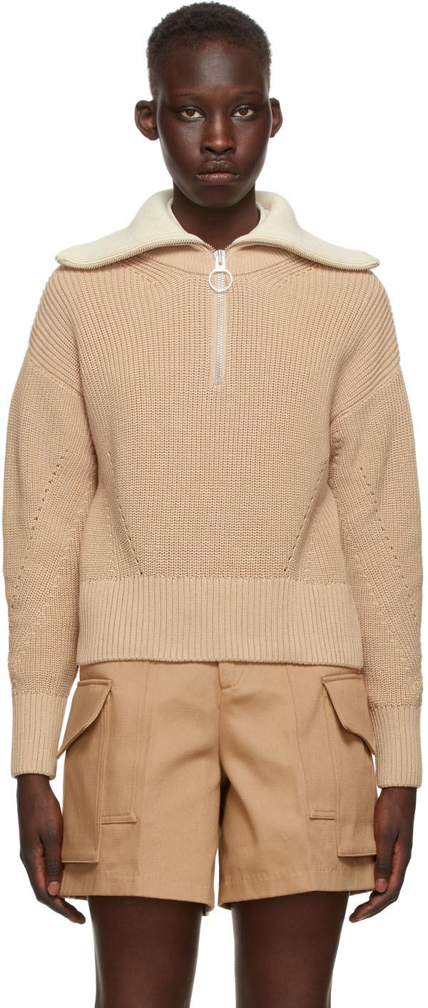 AMI Alexandre Mattiussi Tan Zipped Collar Sweater