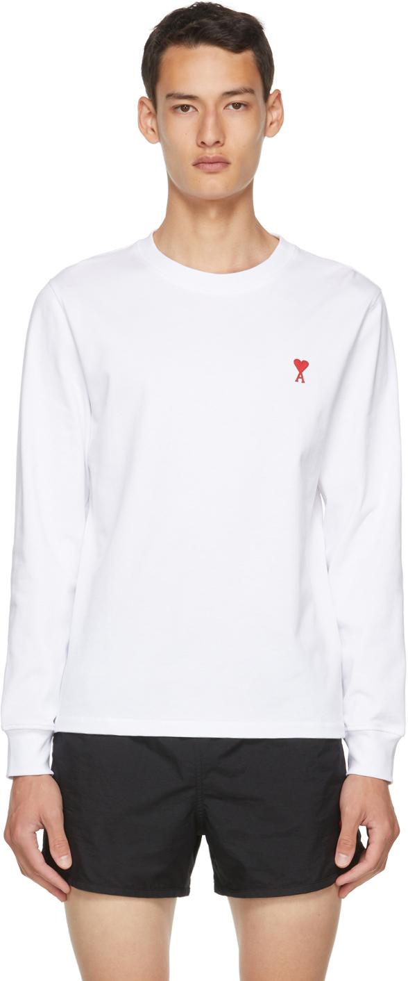 AMI Alexandre Mattiussi White Ami De Coeur Long Sleeve T-Shirt