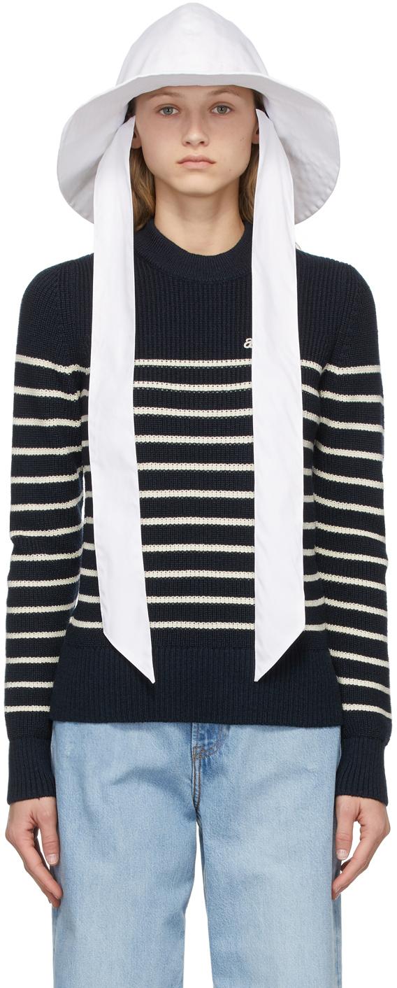 AMI Alexandre Mattiussi White Cotton Wide Brim Hat