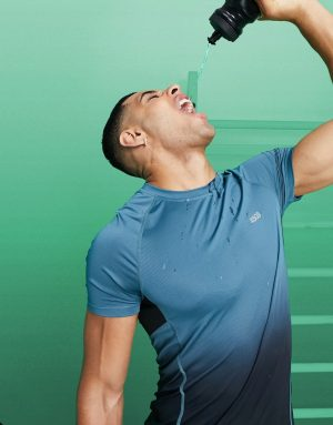 ASOS 4505 muscle training t-shirt with ombre-Green
