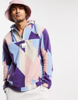 ASOS Actual oversized half zip sweatshirt in all over printed fleece with Logo-Multi