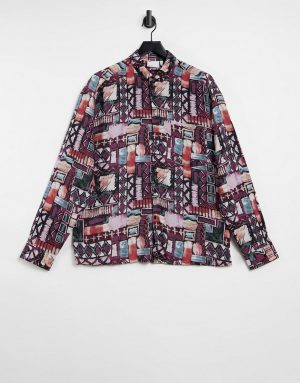 ASOS DESIGN 90s oversize vintage print shirt in brown