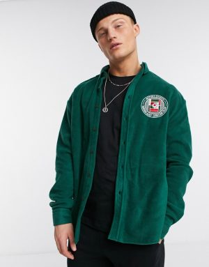 ASOS DESIGN 90s oversized green fleece shirt with chest embroidery