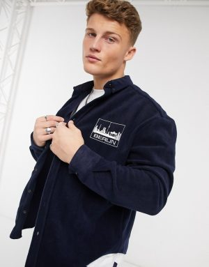 ASOS DESIGN 90s oversized navy fleece shirt with chest embroidery