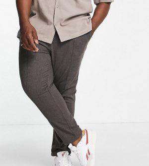 ASOS DESIGN Plus slim pants in gray with elasticized waist-Grey