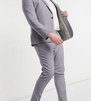 ASOS DESIGN Plus wedding super skinny suit pants in dark gray cross hatch-Grey