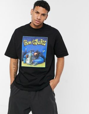 ASOS DESIGN Snoop Dogg Gin & Juice oversized t-shirt with front print in black